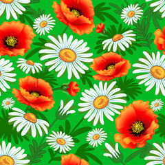 Illustration seamless bright with poppies and daisies for fabric