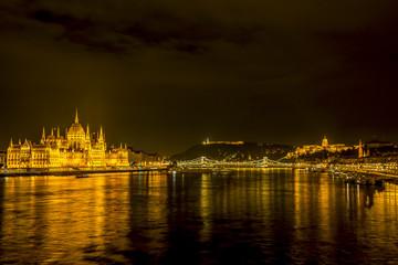 Wall Mural - Budapest city skyline by night, Hungary.