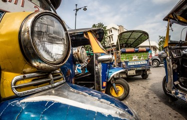 Detail of tuk-tuk,  a three-wheeled motor vehicle used as a taxi in bangkok and in Thailand