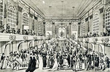 Masked ball at Redoutensäle (Hofburg, Vienna) by Joseph Schütz ca. 1815