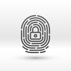 Vector finger print icon with lock inside
