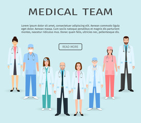 Medical team. Group of flat men and women doctors, hospital employee standing together. Teamwork concept.