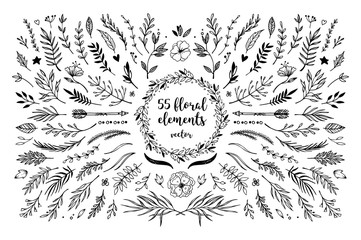 Hand sketched vector vintage elements ( laurels, frames, leaves, flowers, swirls and feathers). Wild and free. Perfect for invitations, greeting cards, quotes, blogs, Wedding Frames, posters and more Wall mural