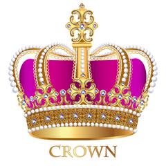 illustration imperial crown with jewels on a white background