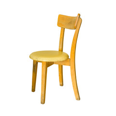 Old wooden chair isolated on white background.  This has clipping path.