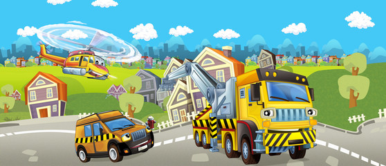 Cartoon tow truck pilot car and helicopter - illustration for children