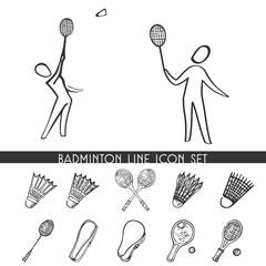 Badminton line icon set