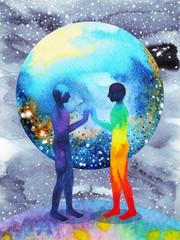 human and universe power, watercolor painting, chakra reiki, inspiration abstract arts