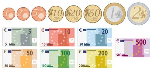 Euro Währung komplettes Set von Münzen und Scheine