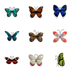 Butterflies icons set, cartoon style