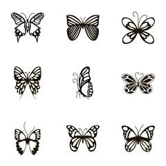 Black beautiful butterflies icons set