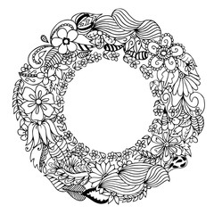 Vector illustration Zen Tangle, doodle round frame with flowers, mandala. Coloring book anti stress for adults. Black and white.