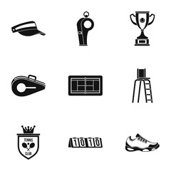 Tennis icons set, simple style