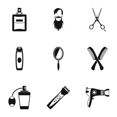 Barber icons set, simple style
