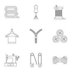 Sewing supplies icons set, outline style