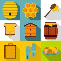 Beekeeping icons set, flat style