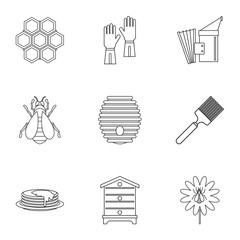 Honey production icons set, outline style