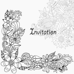 Vector illustration Zen Tangle invitation in colors. Coloring Book, anti-stress for adults. Black and white.
