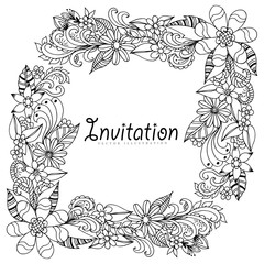 Vector illustration zentangl frame colors. Coloring Book, anti-stress for adults. Black and white.