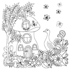 Vector illustration zentangl goose near a house in flowers. Coloring book anti-stress for adults. Black and white.
