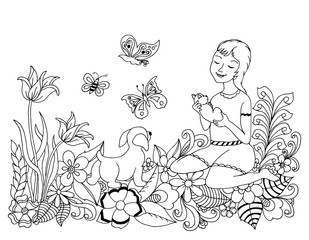 Vector illustration zentangl girl with a dog on the nature in the flowers. Coloring book anti-stress for adults. Black and white.