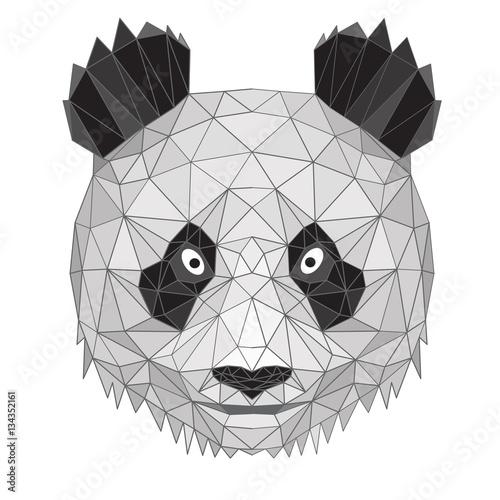 Panda La Testa Di Geometrico Design Linee Nere Poligoni