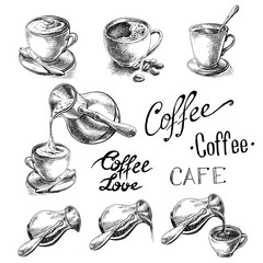 set of cup and coffee turk in graphic style