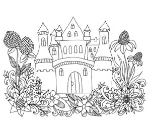 Vector illustration Zen Tangle castle among the flowers. Coloring book, anti stress for adults. Black and white.