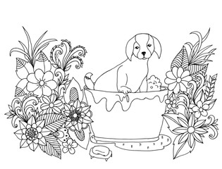 Vector illustration Zen Tangle washable dog in flowers. Coloring book, anti stress for adults. Black and white.
