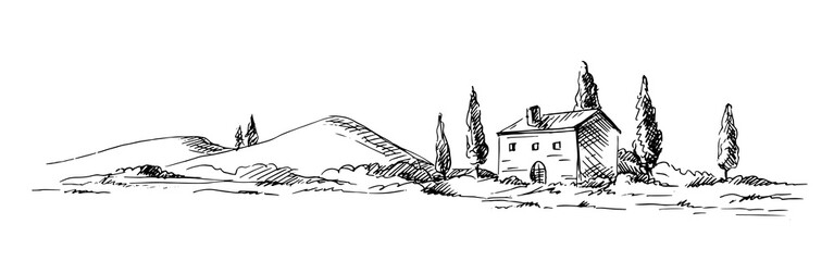 Countryside sketch in graphic style