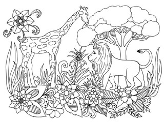 Vector illustration Zen Tangle lion and giraffe in a shroud. Dudling. Coloring book, anti stress for adults. Black and white.