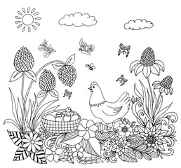 Vector illustration Zen Tangle hen with chickens in colors. Dudling. Coloring book, anti stress for adults. Black and white.