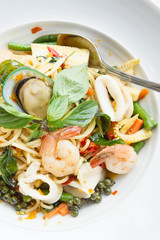 The drunken noodles, spaghetti seafood.