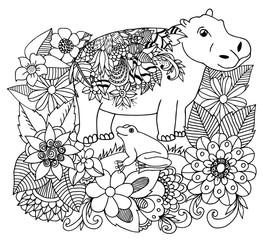 Vector illustration zentangl behemoth with a frog in flowers. Dudling. Book coloring, anti stress for adults. Black and white.