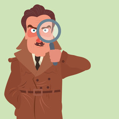Illustration of a detective holding a magnifying glass. Confident detective in brown coat searching. Search, inspect, investigate. Detective, inspector, police officer. Flat style vector illustration