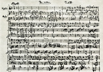 Beginning of Mozart's music for Goethe's poem