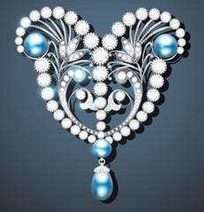 Illustration  brooch with pearls and precious stones. Filigree v