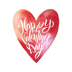 Happy Valentines Day Lettering. Pink Foil Heart Background Greeting Card