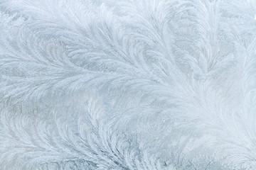 Frosty patterns on the window.