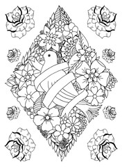 Vector illustration zentangl, dove obmotany ribbon surrounded by flowers in a rhombic style with roses. Coloring book anti stress for adults. Black and white.