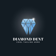 Diamond Dent Abstract Concept. Vector Emblem, Sign or Logo Template. Tooth Shaped Shiny Brilliant Symbol.