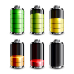 Battery icon set for smartphone, laptop, tabled or other gadgets, isolated on white