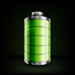 Full battery icon with green levels, for smartphone, laptop, or tablet, on black background
