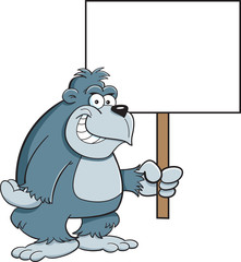 Cartoon illustration of a gorilla holding a sign.