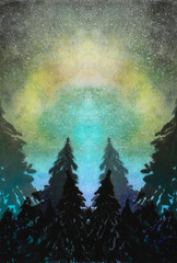 Watercolor landscape with forest on aurora polaris lights background