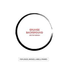 Hand drawn grunge circle shape. Label, logo design element, frame. Brush abstract wave. Vector illustration.