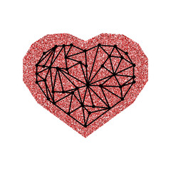 Happy Valentine's Day card with red glitter effect heart and black geometric heart. Isolated on white background.