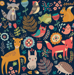 Seamless pattern, animals in the forest