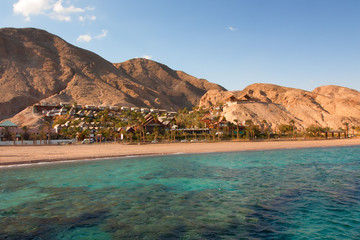 Scenic view of Red sea shore in Eilat