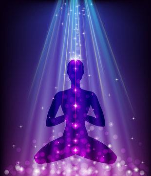 Padmasana on glowing purple background